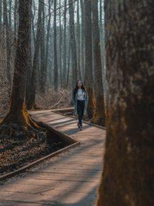 Girl walking in park